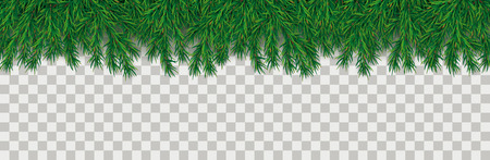 Green christmas branches on the checked background. Eps 10 vector file. Illustration