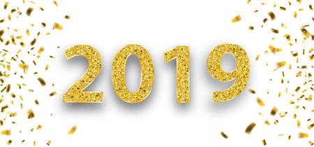 Konfetti mit dem goldenen Text 2019. Eps 10 Vektordatei. Vektorgrafik