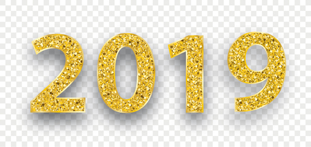 Golden text 2019 on the checked background.  Eps 10 vector file. Çizim