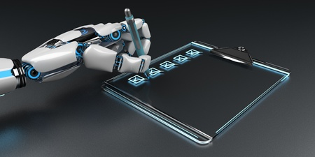 A robot hand with the checklist on the clipboard. 3d illustration.