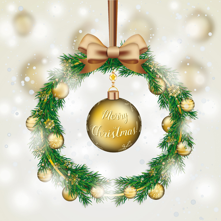 Advent wreath with green twigs and golden baubles in the snow. Eps 10 vector file. Stock Illustratie