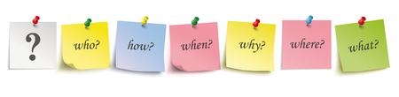 Palos de colores con preguntas y alfileres sobre el fondo blanco. Archivo de vector EPS 10.