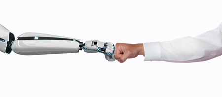 A robot hand and a human hand touch each other with the fists. 3d illustration.