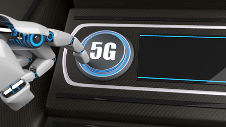Robot pushes the button with the text 5G with his hand. 3d illustration. Фото со стока