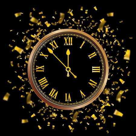 Golden clock with the date and golden confetti on the black background. Eps 10 vector file. Ilustración de vector