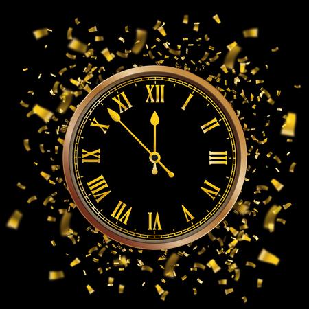 Reloj dorado con la fecha y confeti dorado sobre fondo negro. Archivo de vector EPS 10. Ilustración de vector