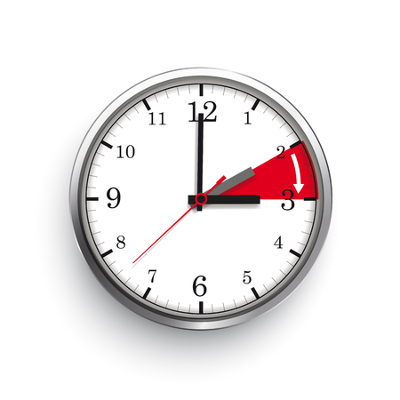 A clock for a time change to a summer time on the white background. Eps 10 vector file.
