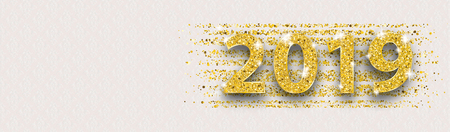Golden text 2019 banner on the noble background with ornaments. Eps 10 vector file.