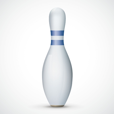 Bowling pin with blue stripes on the white background. Eps 10 vector file.