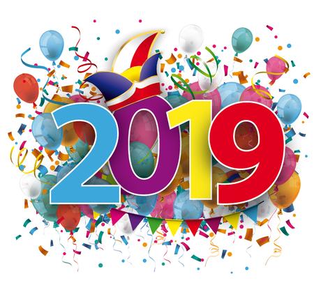 2019 mit farbigem Konfetti und Narrenmütze auf weißem Hintergrund. EPS-10-Vektordatei. Vektorgrafik