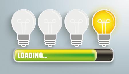 Idea bulbs with progress bar and text loading. Eps 10 vector file.