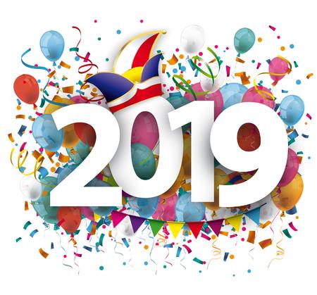 2019 avec des confettis colorés et une casquette de bouffons sur fond blanc. Fichier vectoriel EPS 10.