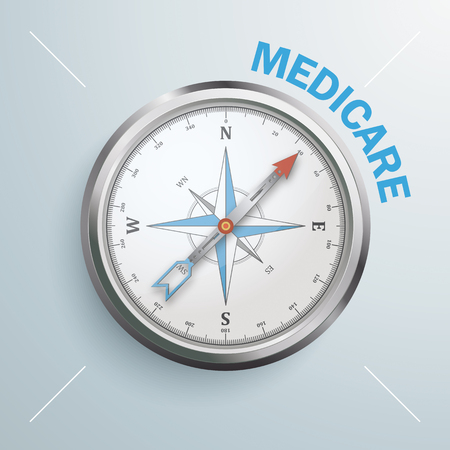 Compass with the text Medicare. Eps 10 vector file. Vector Illustratie