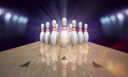 Bowling pin deck with red pins. 3d illustration.