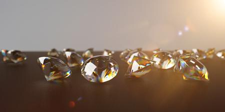 Diamonds on the black background. 3d illustration.