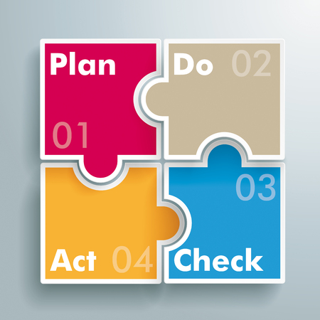 PDCA concept with colored rectangle puzzle. Eps 10 vector file. Illustration