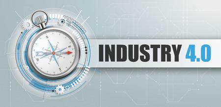 Brújula en el fondo gris con banner y texto Industria 4.0. Archivo de vector EPS 10. Ilustración de vector