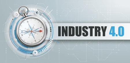 Compass on the gray background with banner and text Industry 4.0. Eps 10 vector file. Ilustração Vetorial