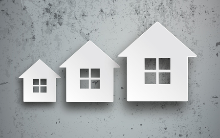 3 house building shapes on the concrete background. Eps 10 vector file.