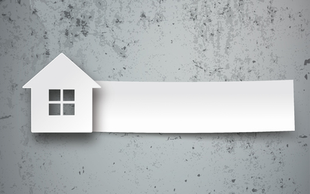 House building shape with paper banner on the concrete background. Eps 10 vector file.