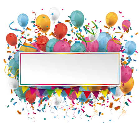 Paper banner with colored confetti and balloons on the white background. Eps 10 vector file. Illusztráció