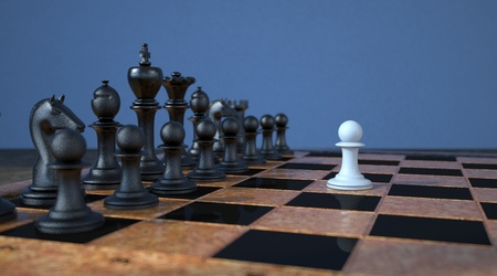An abstract representation of courage with chess pieces. 3d illustration