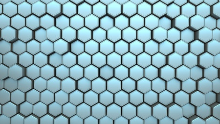 Blue hexagon structure background. 3d illustration.