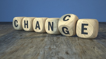 Wooden cubes with the words change to chance. 3d illustration.