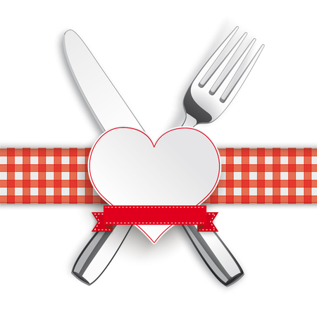 Knife, fork with checked table cloth and paper heart on the white background. Eps 10 vector file. Illustration