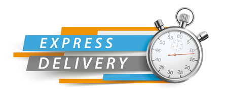 Stopwatch with colorful paper lines and text express delivery on the white background. Eps 10 vector file. Vector Illustration