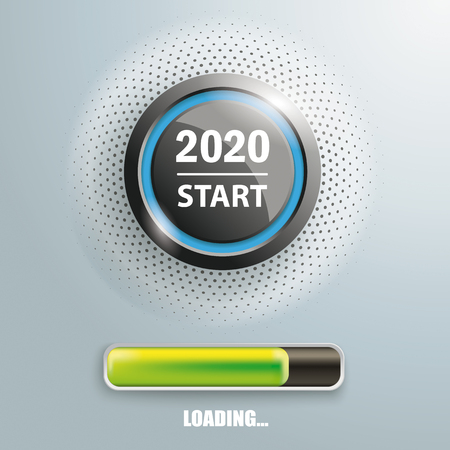 Progress bar and button with text 2020 Start. Eps 10 vector file. Stock Illustratie