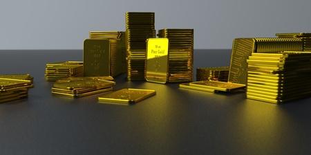 Gold bars on a dark background. 3d illustration.
