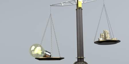 Beam balance with bulb and money coins. 3d illustration.