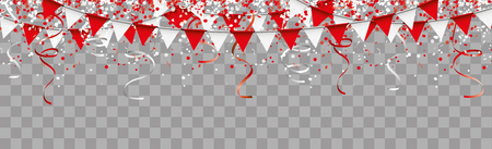 Red and white confetti with ribbons and festoons on the checked background. Eps 10 vector file. Illustration