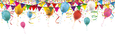 Colored confetti with balloons, ribbons and festoons on the white. Eps 10 vector file.