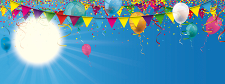 Sun with sunbeam, colored confetti, garlands and balloons on the blue sky. Eps 10 vector file. Illustration
