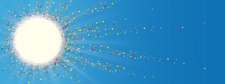 Sun with sunbeam, colored confetti on the blue sky. Eps 10 vector file.