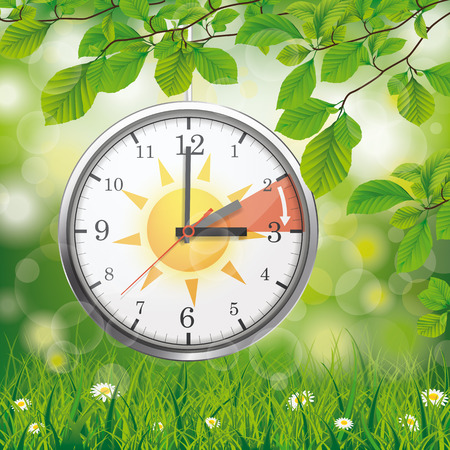 A clock for a time change to a standard time hanging in the green nature. Eps 10 vector file.