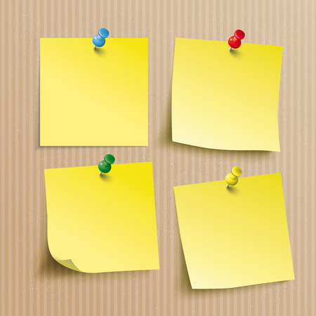 Brown and striped card board background with the yellow sticks with pins. Eps 10 vector file.