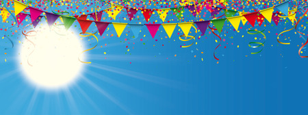 Sun with sunbeam, colored confetti and garlands on the blue sky. Eps 10 vector file.