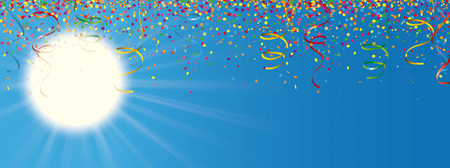 Sun with sunbeam, colored confetti and ribbons on the blue sky. Eps 10 vector file.