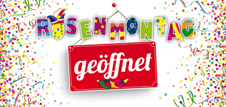 German text Rosenmontag geoeffnet, translate Carnival Monday Open. Eps 10 vector file.