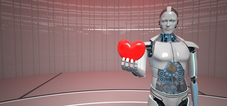 Humanoid robot with a red heart in the hand. 3d illustration.
