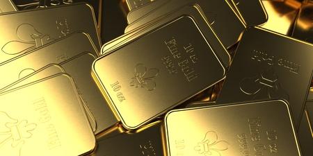 Fine gold bars 10 Oz on the table. 3d illustration.