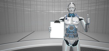 Humanoid robot indicates that the health score is ok. 3d illustration.