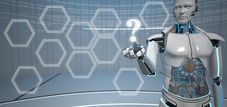 Humanoid robot clicks on the display with a question mark. 3d illustration. Фото со стока