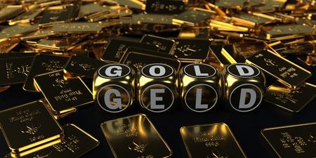 German text Geld, translate Money. 3d illustration. Stock Photo