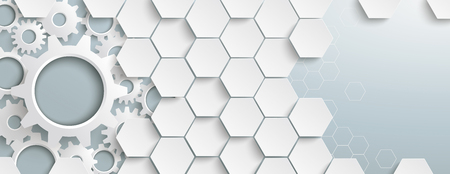 Hexagon structure with gears on the gray background. Eps 10 vector file.
