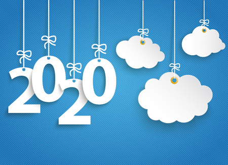 Hanging numbers 2020 and cloud stickers on the blue striped background. Eps 10 vector file.