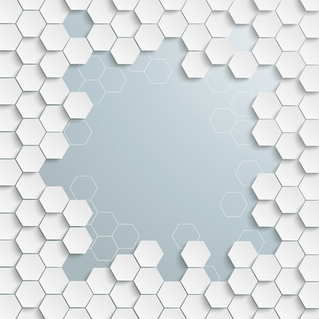 Cover with honeycomb structure with a grey centre. Eps 10 vector file. Stockfoto - 124818021